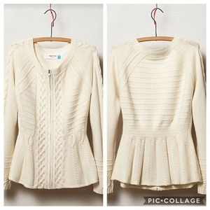EUC Sparrow Ivory Cable Knit Zip wool sweater